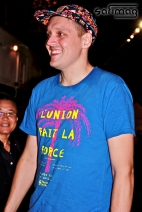 """Win Butler after the show with his """"L'Union Fait La Force"""" T-shirt."""