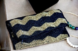 Créations Dorées Black & Gold Multifonction Beaded Clutch by Sara