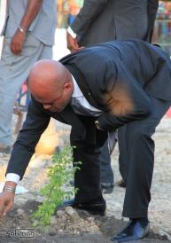 Michel Joseph Martelly posant une plantule à Ti-Tanyen