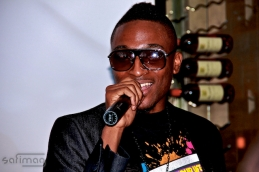 Lukay giving thanks on the microphone
