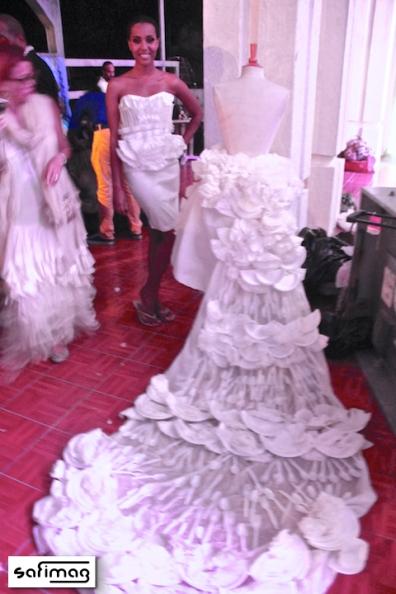 Backstage With An All White Plastic & Styrofoam Sibylle Denis Touat Wedding Dress