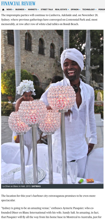 DINER EN BLANC HAITI - FINANCIAL REVIEW 2013