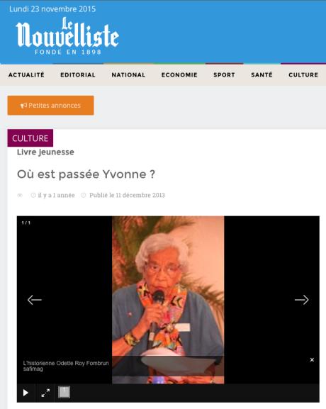 ODETTE ROY FOMBRUN - LE NOUVELLISTE 2013